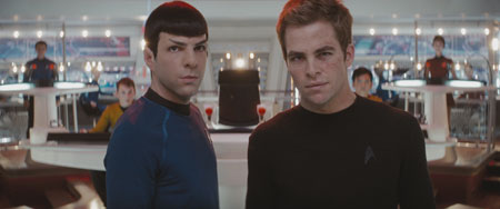 ZACHARY QUINTO as Commander Spock and CHRIS PINE as Captain James T. Kirk in J.J. Abrams' STAR TREK. Credit: Courtesy of Paramount Pictures Copyright © 2009 by PARAMOUNT PICTURES CORPORATION. STAR TREK and related marks and logos are trademarks of CBS Studios Inc. All Rights Reserved.