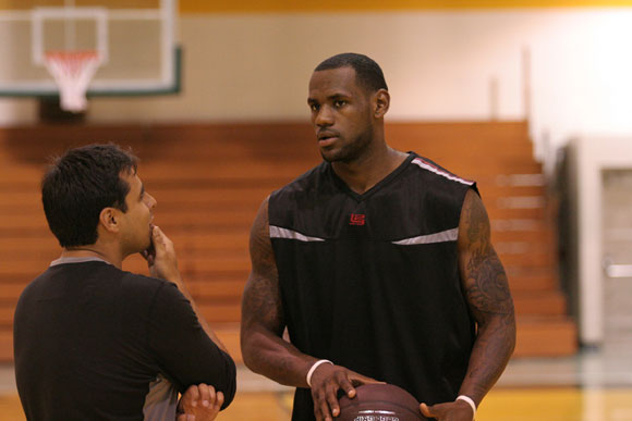 Director Kristopher Belman (left) with MORE THAN A GAME star LeBron James (right). Photo courtesy of Lionsgate