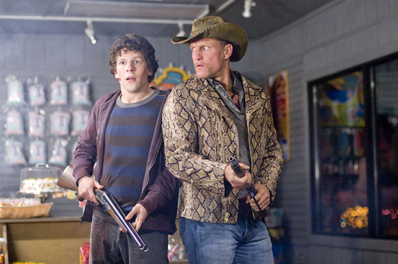 Jesse Eisenberg (left) and Woody Harrelson star in Columbia Pictures' comedy ZOMBIELAND.